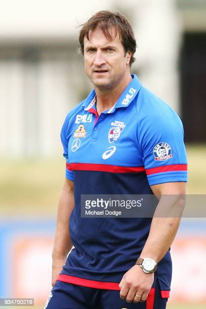 Bulldogs head coach Luke Beveridge looks on during a Western Bulldogs AFL training session at Whitten Oval on March 20 2018 in Melbourne Australia