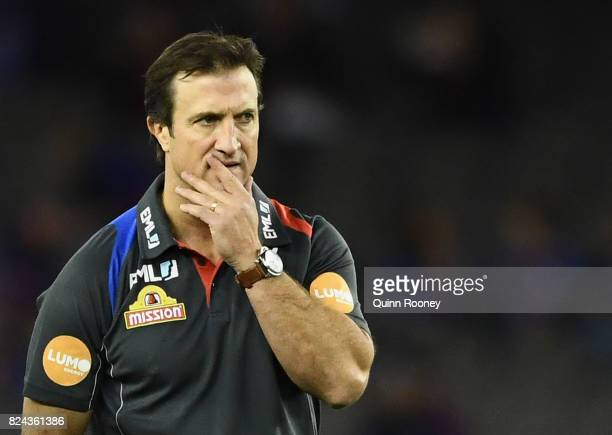 Bulldogs head coach Luke Beveridge looks on during the round 19 AFL match between the Western Bulldogs and the Essendon Bombers at Etihad Stadium on...