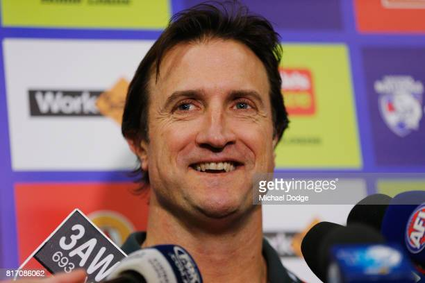 Bulldogs head coach Luke Beveridge speaks to media during a Western Bulldogs AFL training session at Whitten Oval on July 18 2017 in Melbourne...