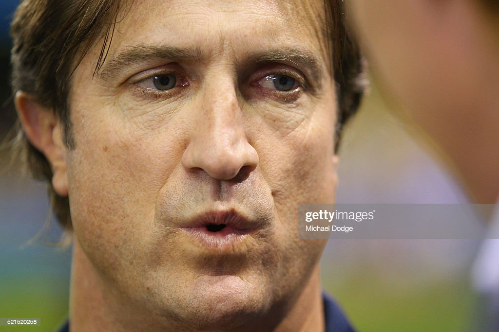 Bulldogs head coach Luke Beveridge speaks to media during AFL Round 4 match between the Carlton Blues and the Western Bulldogs at Etihad Stadium on April 16, 2016 in Melbourne, Australia.