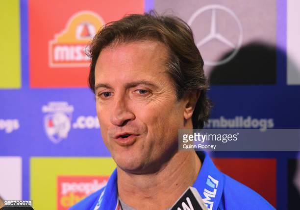 Bulldogs head coach Luke Beveridge talks to the media during a Western Bulldogs AFL training session at Whitten Oval on June 22 2018 in Melbourne...