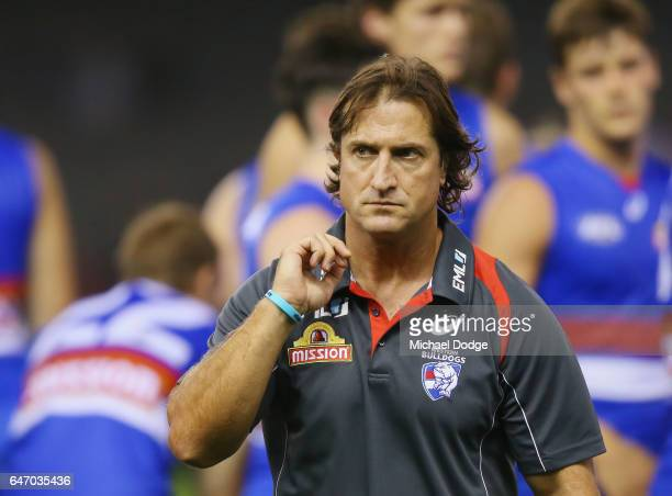 Bulldogs head coach Luke Beveridge walks off at at three quarter time during the 2017 JLT Community Series AFL match between the Western Bulldogs and...