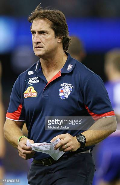 Bulldogs head coach Luke Beveridge walks off at three quarter time during the round four AFL match between the Western Bulldogs and the Adelaide...