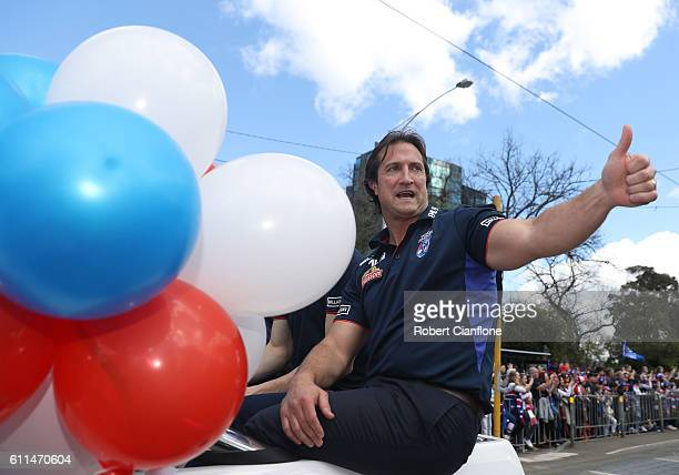 Bulldogs head coach Luke Beveridge waves to fans during the 2016 AFL Grand Final Parade on September 30 2016 in Melbourne Australia