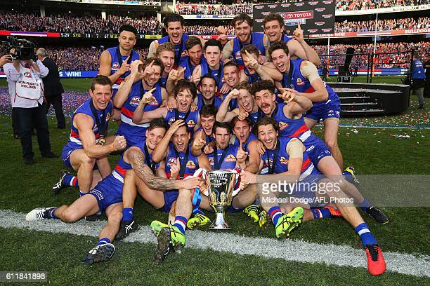 Bulldogs players celebrate the win during the 2016 AFL Grand Final match between the Sydney Swans and the Western Bulldogs at Melbourne Cricket...