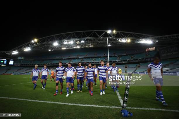 Bulldogs players leave the field after warming up during the round 2 NRL match between the Canterbury Bulldogs and the North Queensland Cowboys at...