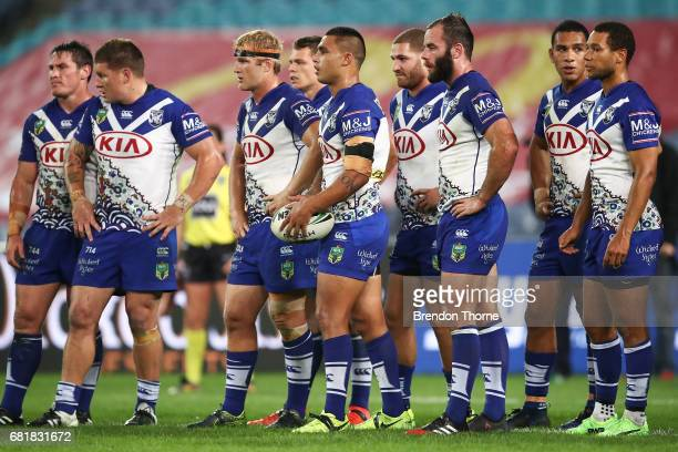 Bulldogs players looks on during the round 10 NRL match between the Canterbury Bulldogs and the North Queensland Cowboys at ANZ Stadium on May 11...