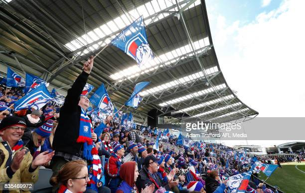 Bulldogs supporters cheer during the 2017 AFL round 22 match between the Western Bulldogs and the Port Adelaide Power at Mars Stadium on August 19...