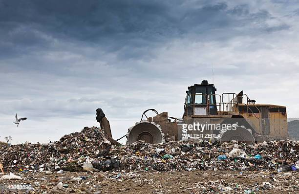 bulldozer at garbage collection center - waste management stock pictures, royalty-free photos & images