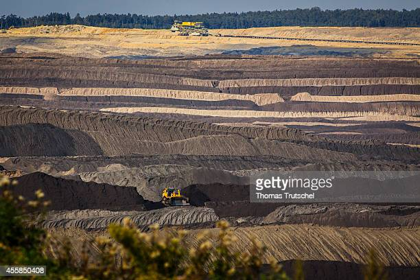 Bulldozer between spoil piles of the lignite opencast mining Welzow Sued which is operated by Vattenfall Europe Mining AG on September 17 in Welzow...