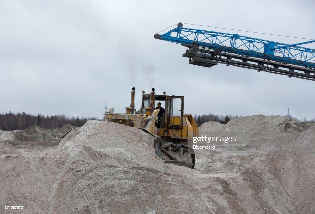 A bulldozer operates in the salt dump at the Usolskiy Potash