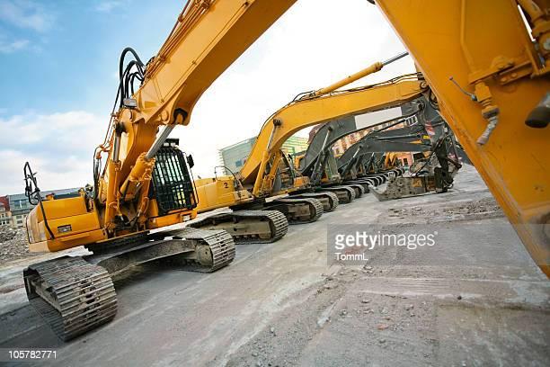 bulldozers in a row