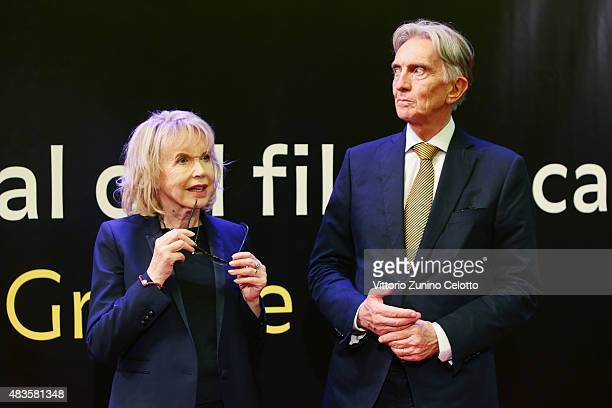 Bulle Ogier and Marco Solari attend the Pardo alla Carriera Award red carpet on August 10, 2015 in Locarno, Switzerland.