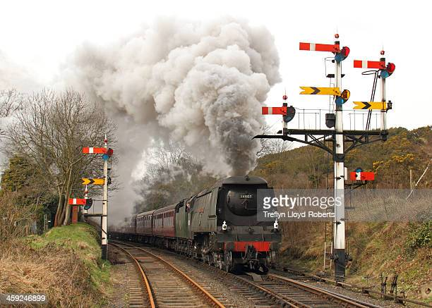 """Bulleid West Country Class 4-6-2 Pacific steam locomotive 34007 """"Wadebridge"""" passes the impressive signal array as it leaves Bewdley towards..."""