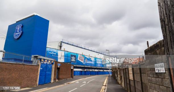 bullens road stand at everton fc - liverpool v everton premier league stock pictures, royalty-free photos & images