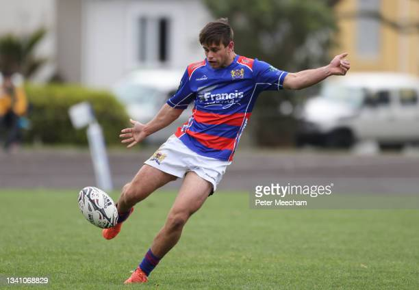Buller fullback Alex Paterson kicks during the round one Heartland Championship match between Buller and South Canterbury at , on September 18 in...