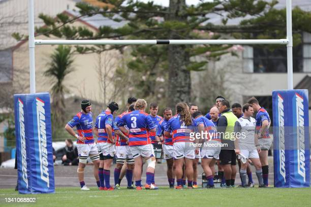 Buller players behind the tryline during the round one Heartland Championship match between Buller and South Canterbury at , on September 18 in...
