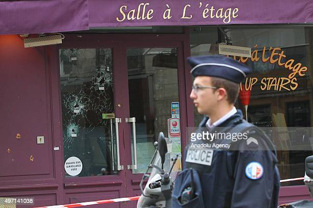 Bullet holes are seen as the French police takes security measures at Bataclan concert hall and La Belle Equipe restaurant in 11th district of Paris...