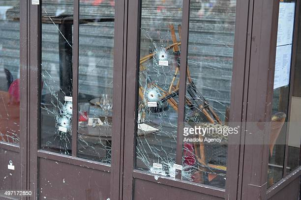 Bullet holes are seen at La Belle Equipe restaurant in 11th district of Paris France on November 14 2015 following the terror attacks At least 127...