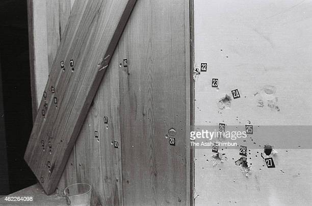 Bullet holes are seen in the Asama Sanso holiday lodge where the United Red Army took a hostage and was sieged by police photographed on March 4 1972...