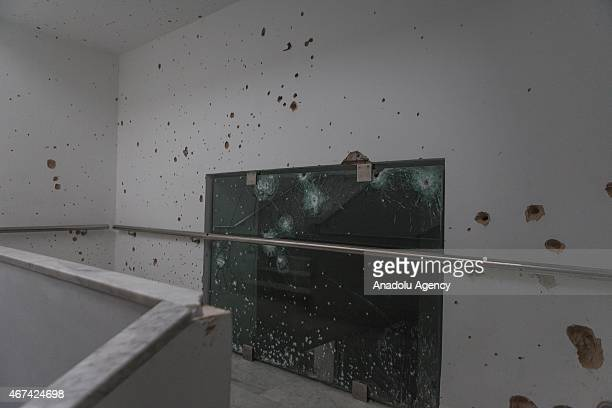 Bullet holes are seen on the walls and windows at Bardo Museum on March 24 2015 in Tunis Tunisia Gunmen allegedly Daesh terrorists opened fire at the...
