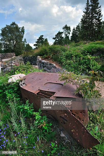 Bullet holes in iron turret from trench at the First World War battlefield Le Linge at Orbey Alsace France