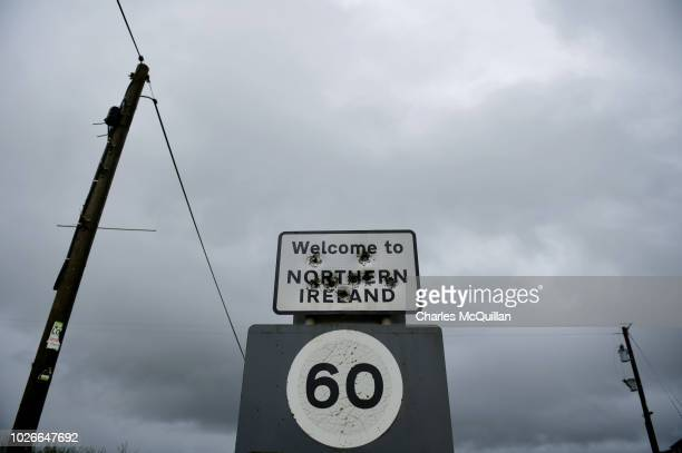Bullet holes mark a Welcome to Northern Ireland sign post that denotes the Irish border on July 22 2018 in Derrylin Northern Ireland Following the...