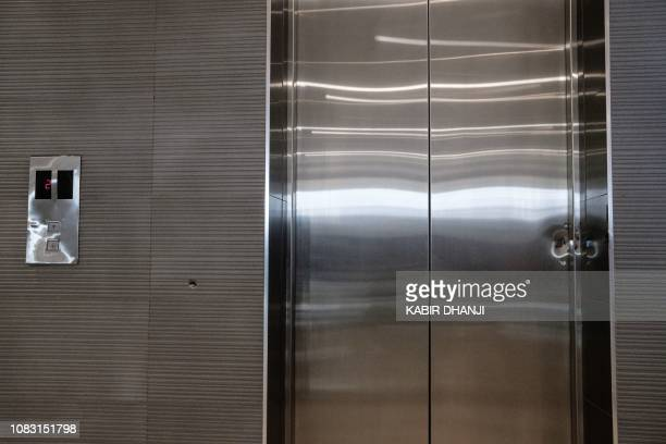 Bullet marks are seen on the doors of an elevator in the building attached to the DusitD2 hotel in Nairobi Kenya on January 15 after a blast followed...
