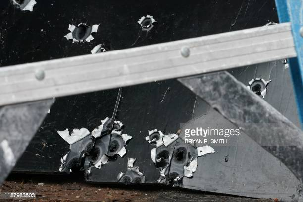 Bullet scarred metal at the scene of the December 10, 2019 shooting at a Jewish Deli, on December 11, 2019 in Jersey City, New Jersey. - The shooters...
