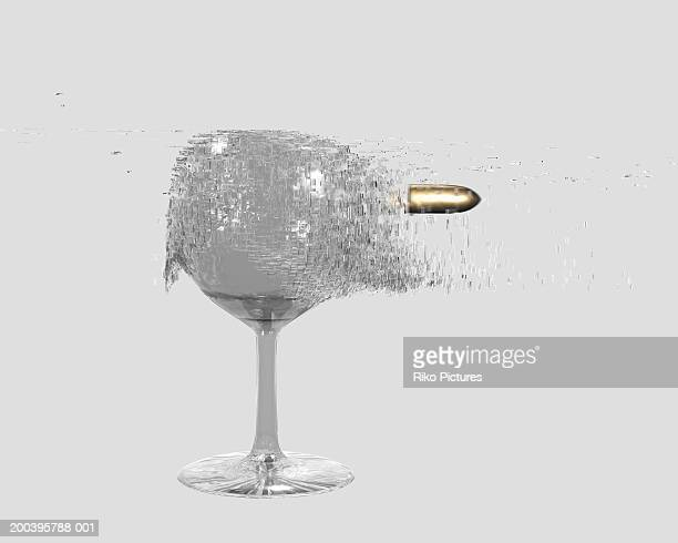 Bullet shattering wine glass (digital)