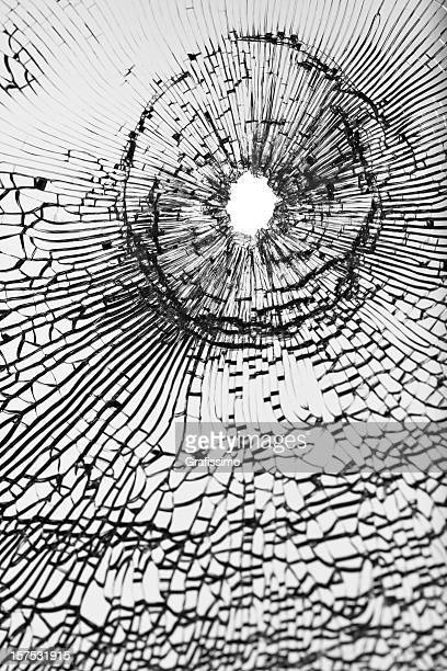 Bullet shot on broken window