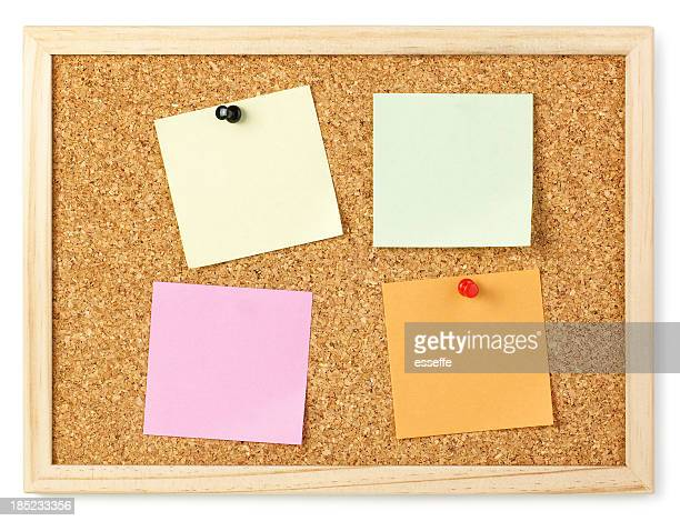 bulletin with post-it isolated on white