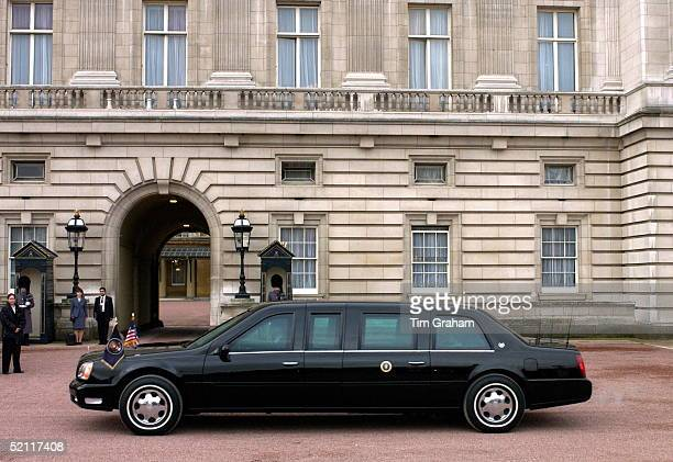 Bulletproof And Bombproof Stretch Limousine For The American State Visit Driving Through The Forecourt Of Buckingham Palace Past Sentries On Guard