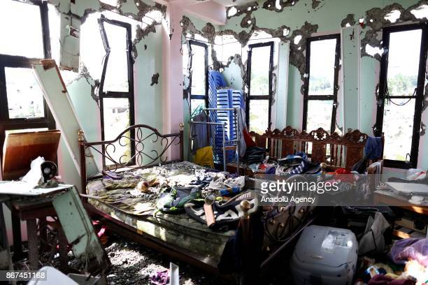 A bulletriddled room of an apartment house believed to have been rented by Abu Sayyaf leader Isnilon Hapilon is seen at a residential area in Marawi...