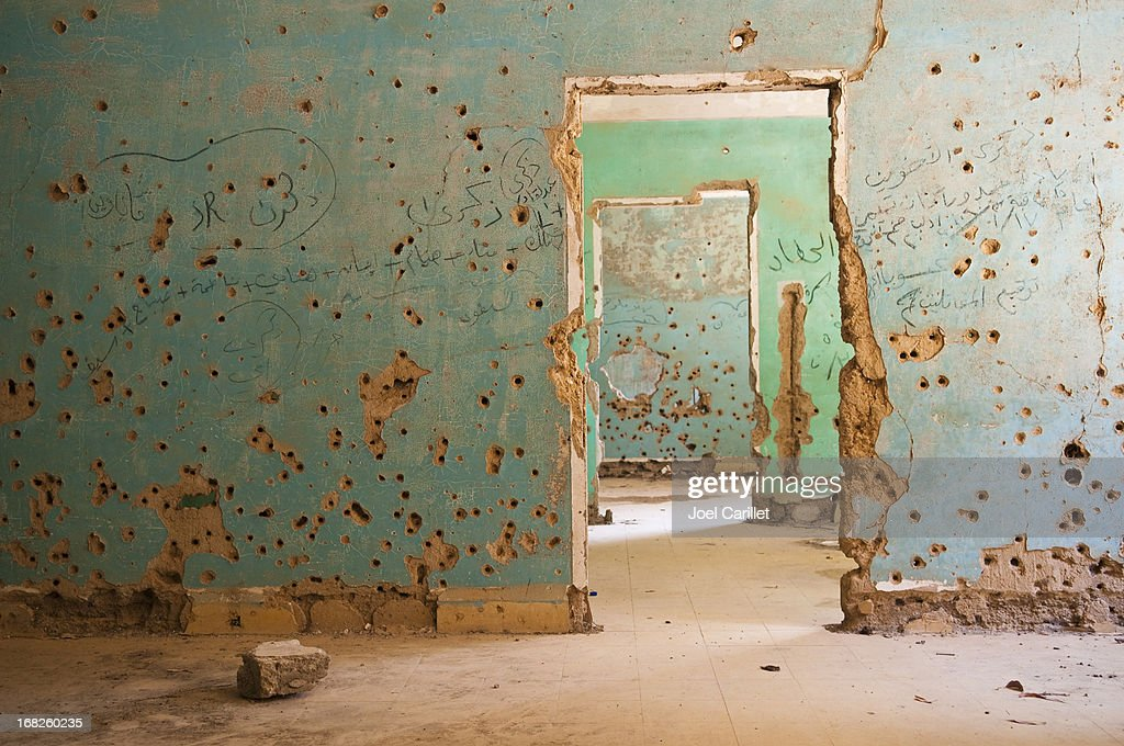 Bullet-riddled rooms in Quneitra, Syria : Stock Photo