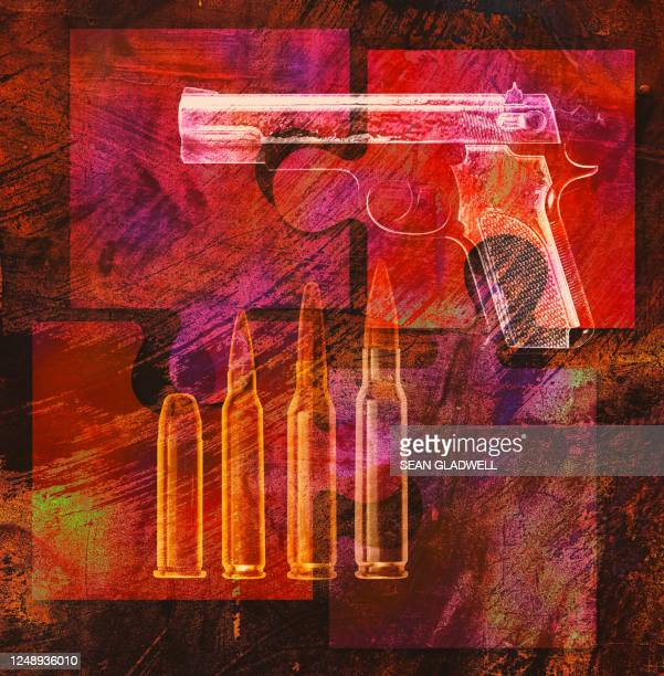 bullets and pistol - gun control stock pictures, royalty-free photos & images