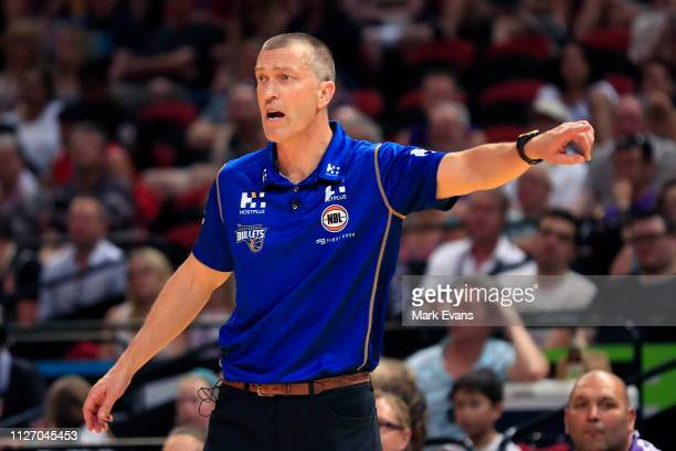 Bullets Coach Andej Lemanis reacts during the round 16 NBL match between the Sydney Kings and the Brisbane Bullets at Qudos Bank Arena on February 03...