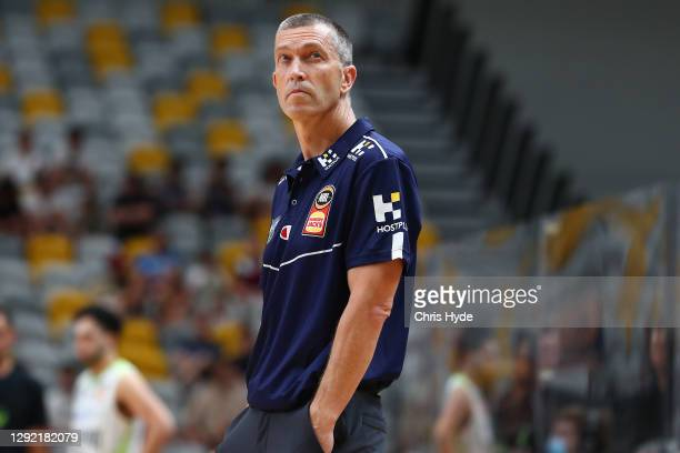 Bullets coach Andrej Lemanis during the NBL Pre-Season match between the Brisbane Bullets and the South East Melbourne Phoenix at the Gold Coast...