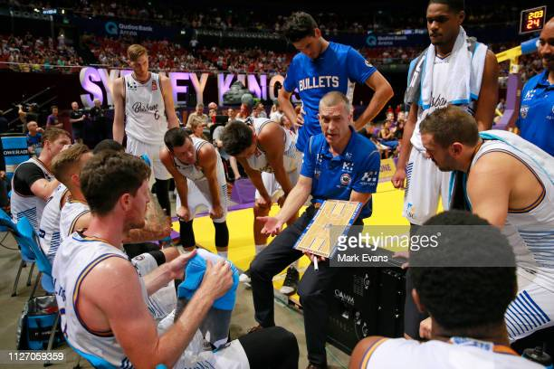 Bullets Coach Andrej Lemanis instructs his players during a timeout in the round 16 NBL match between the Sydney Kings and the Brisbane Bullets at...