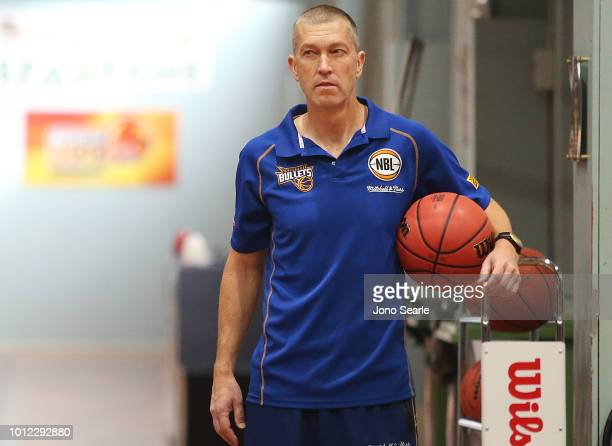 Bullets coach Andrej Lemanis looks on during a Brisbane Bullets NBL training session on August 7 2018 in Brisbane Australia