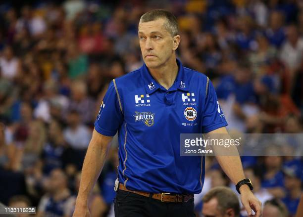 Bullets coach Andrej Lemanis looks on during game two of the NBL Semi Final Series between the Brisbane Bullets and the Perth Wildcats at the...