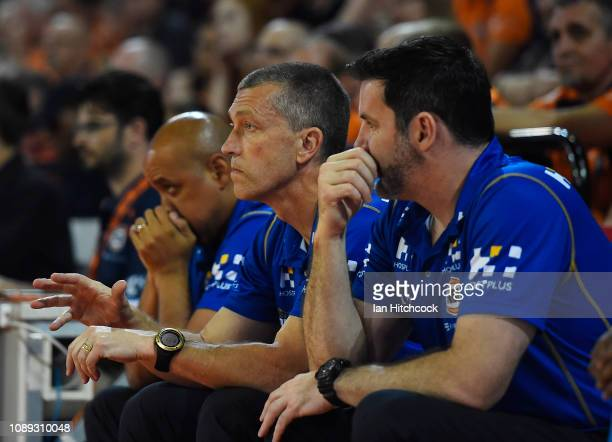 Bullets coach Andrej Lemanis looks on during the round 12 NBL match between the Cairns Taipans and the Brisbane Bullets at Cairns Convention Centre...