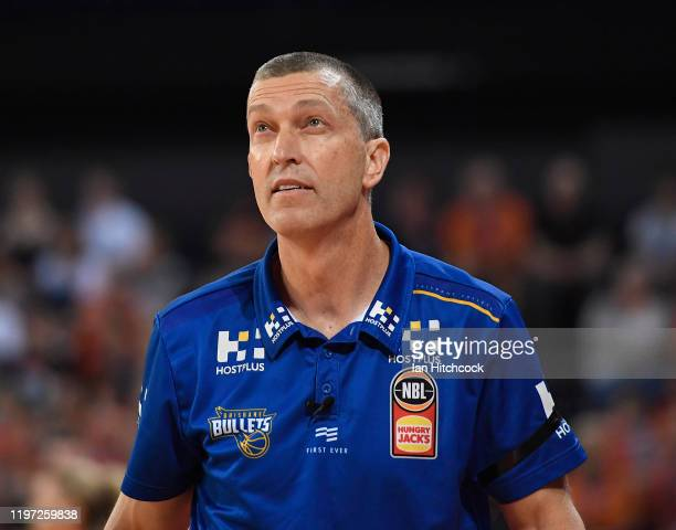 Bullets coach Andrej Lemanis looks on during the round 14 NBL match between the Cairns Taipans and the Brisbane Bullets at the Cairns Convention...