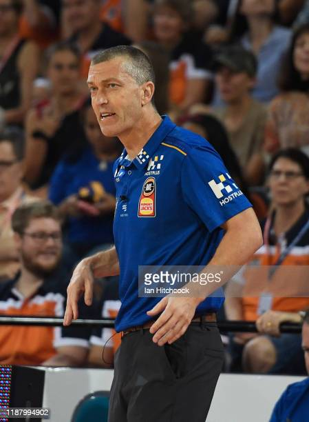 Bullets coach Andrej Lemanis looks on during the round 7 NBL match between the Cairns Taipans and the Brisbane Bullets on November 16, 2019 in...