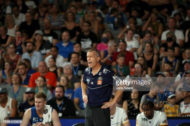 Bullets coach Andrej Lemanis looks on during the round three NBL match between the Brisbane Bullets and the Cairns Taipans at Nissan Arena, on...