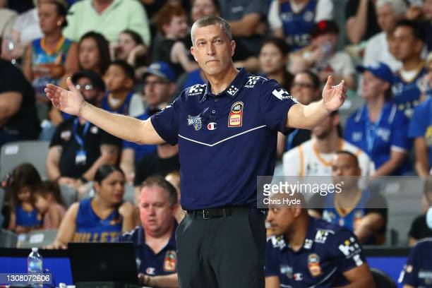 Bullets coach Andrej Lemanis reacts during the round 10 NBL match between the Brisbane Bullets and the New Zealand Breakers at Nissan Arena on March...