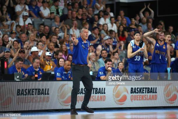 Bullets Coach Andrej Lemanis reacts during the round 14 NBL match between the Brisbane Bullets and the Perth Wildcats at Nissan Arena on January 05,...