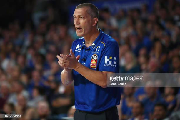 Bullets coach Andrej Lemanis reacts during the round nine NBL match between the Brisbane Bullets and the South East Melbourne Phoenix at Nissan Arena...