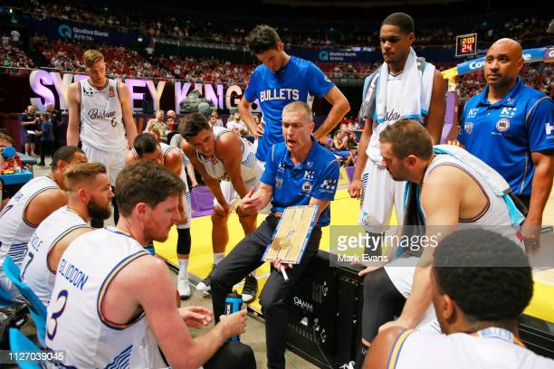 Bullets Coach Andrej Lemanis talks to his team during a time out during the round 16 NBL match between the Sydney Kings and the Brisbane Bullets at...