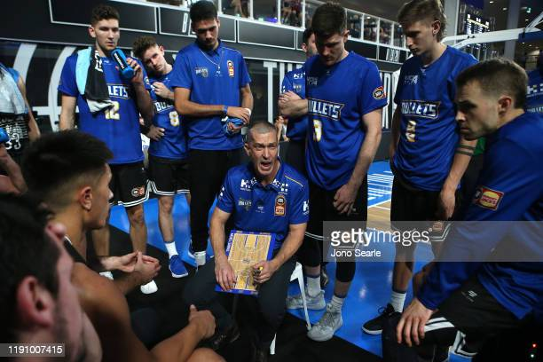 Bullets coach Andrej Lemanis talks to his team during the round nine NBL match between the Brisbane Bullets and the South East Melbourne Phoenix at...